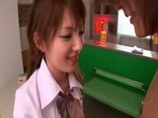 Japanese schoolchick gets cumshot