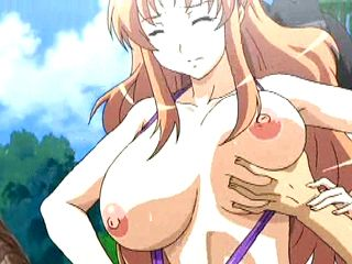 Busty hentai taking photo when having sex in the beach