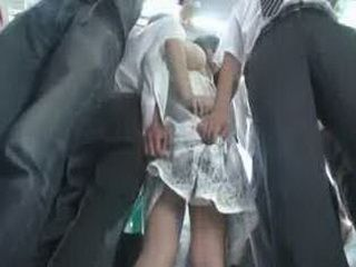 Molester Abuse Sensitive Young Wife in Crowded Bus 1