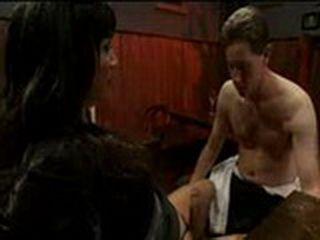 Man gives oral sexual pleasure on pretty tranny