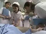 Japanese medical students observe nurse giving a handjob