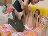 Brunette teen enjoying deep penetration on bed