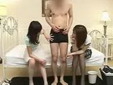Two Japanese milfs fawn over virgin cherry bois boner