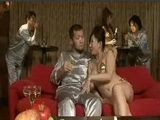 Japanese jet sets suck and lick their new female friends