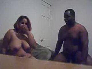 Chunky ebony sucks cock and gets doggystyled