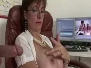 Mature british femdom handjob cumshot