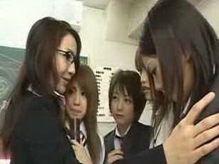 Japanese schoolgirls and milf teacher lesbian party