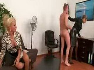 Dominatrix engage her servants in sex