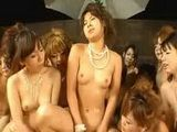 POV crazy Japanese soapland harem kissing cowgirl orgy