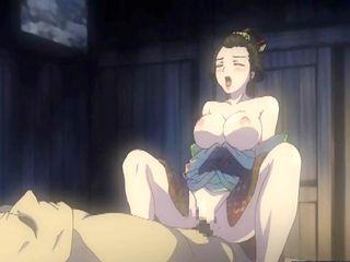 Busty Japanese kimono hentai standing fucked and riding dick