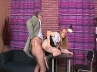 Teacher doing teen students pussy during instructions