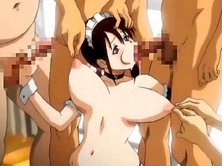 Hottie hentai babe gangbanged by perverted guys