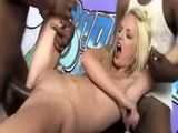 Filthy white skinned blonde girl has interracial sex with several black men
