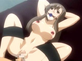 Bondage hentai with a muzzle gets fucked and whipped