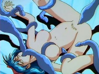 Busty hentai masturbating and drilled all hole by tentacles monster