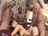 1 asian chick vs 3 black men