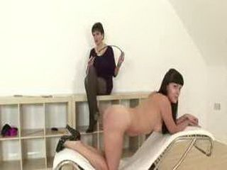 Dirty mature lesbian in stockings