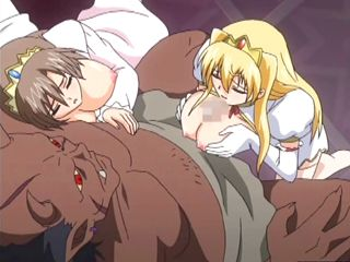 Two hentai girls sharing a monster anime cock