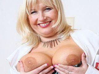 Filthy blonde big tits milf in nurse uniform