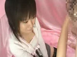 Strange bizarre Japanese CFNM blowjob with shy amateur