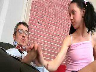 Teen doing her teacher after a handjob and a blowjob