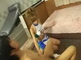 Japanese newhalf shemale gives blowjob and striptease
