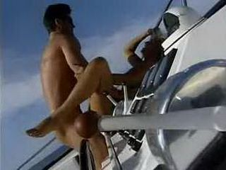 Lifeguard slut get fucked on the boat
