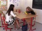 Schoolgirls lick young hot wet pussy in classroom