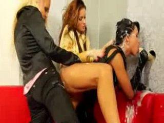 Bukkake lesbian gloryhole strapon slime shower