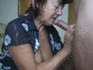 Amateur Granny Blowjob Deepthroat and Cum Swallow