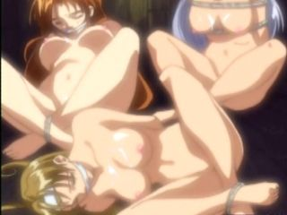 Three hentai cuties tied up and  fucked in a shed