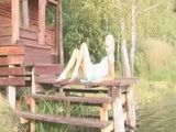 Young amateur blonde posing outdoors