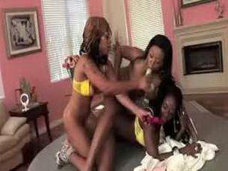 Baby Cakes enjoys having fun with two hot ebony lesbian friends