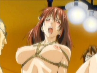Roped anime secretary getting double fucked by two pervs