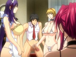 Busty hentai maids group oralsex and facial cumshot