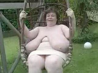 Huge Tits Granny In Her Yard