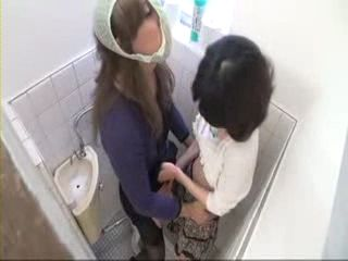 Ladyboy and Girl In Toilet CFNM Tekoki