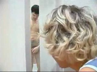 Slutty Mother In Law Spies On Daughters Husband While Hes Taking a Bath