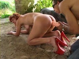 Mature Huge Dildo Anal Insertion and Hard Ass Fuck Outdoor