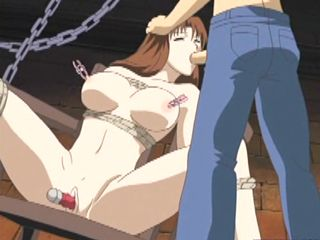 Chained anime brunette gets dildoed pussy and hot sucking stiff dick