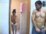 Showering Latin Ladyboy Gets Attacked and Roughly Anal Fucked