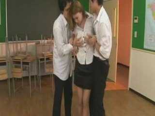 Hot Asian Teacher Gets Fucked By Two Students