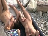 Voyeur Tapes Secret Nudist Blowjob On the Beach