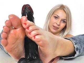 Blond haired feet finger
