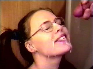 Amateur Pigtailed Wife With Glasses Blowjob and Facial Cumshot