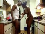 Amateur Ebony Wife Banged Hard In the Kitchen