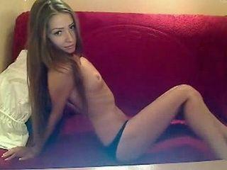 Hot Skinny Girl Teasing on her Webcam