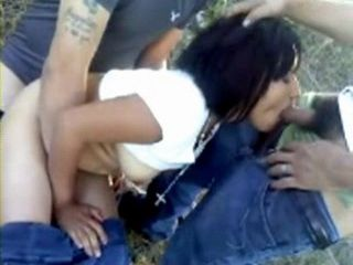 Amateur LatinoAmerican Teen Fucked By 2 Guys Outdoor