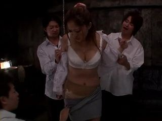 Office Lady Gets Gangbanged In Company Cellar By 3 Young Guys