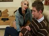Tattooed Short Hair Blonde Fucks Girlfriend's Shy Brother